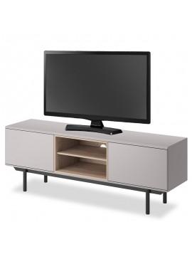 Έπιπλο τηλεόρασης Inox pakoworld χρώμα γκρι - μαύρο 150x40x54εκ 081-000062
