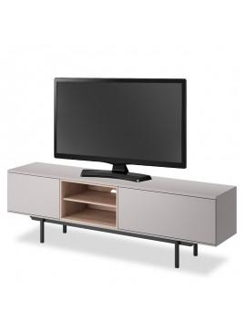 Έπιπλο τηλεόρασης Inox pakoworld χρώμα γκρι - μαύρο 175x40x54εκ 081-000063