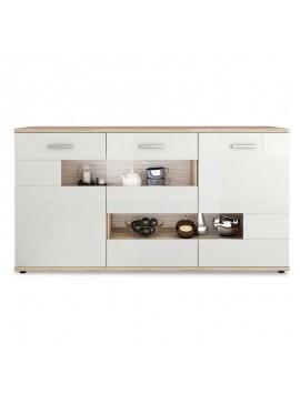 Μπουφές Esprit pakoworld χρώμα λευκό gloss - φυσικό 162x40x86εκ 082-000007
