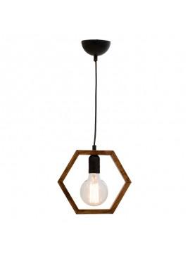 Φωτιστικό οροφής μονόφωτο PWL-0105 pakoworld Ε27 χρώμα καρυδί-μαύρο 24x10x57εκ 099-000003