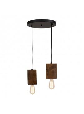 Φωτιστικό οροφής  δίφωτο PWL-0106 pakoworld χρώμα καρυδί-μαύρο Φ30x65εκ 099-000007