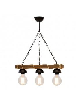Φωτιστικό οροφής τρίφωτο PWL-0107 pakoworld χρώμα καρυδί-μαύρο 50x8,5x59,5εκ 099-000009