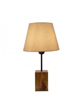 Επιτραπέζιο ξύλινο φωτιστικό PWL-0106 pakoworld Ε27 με καφέ υφασμάτινο καπέλο Φ14-22x41εκ 099-000017