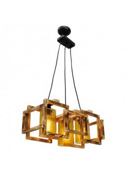 Φωτιστικό οροφής τρίφωτο PWL-0111 pakoworld χρώμα ανοικτό καρυδί-μαύρο 50x20x87εκ 099-000019