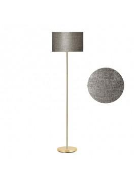 Μεταλλικό φωτιστικό δαπέδου PWL-0137 pakoworld E27 χρυσό-pvc καπέλο γκρι-καφέ Φ30x150εκ 099-000043