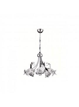 """Φωτιστικό οροφής """"MORENA"""" 5φωτο μεταλλικό σε χρώμα ασημί 100-00798"""