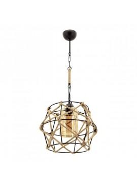 """Φωτιστικό """"MINA"""" οροφής μονόφωτο μεταλλικό με σχοινί σε χρώμα μαύρο 100-01020"""