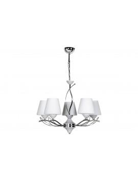 """Φωτιστικό οροφής """"SELENAY"""" 5φωτο μεταλλικό/γυάλινο σε χρώμα ασημί/λευκό Φ50x65 100-01249"""