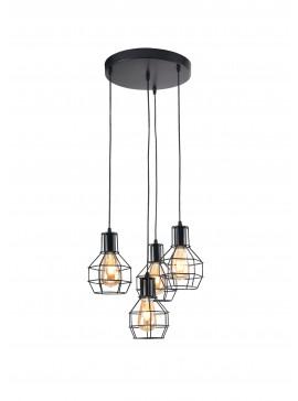 """Τετράφωτο φωτιστικό κρεμαστό """"PERRO"""" σε χρώμα μαύρο 100-01393"""