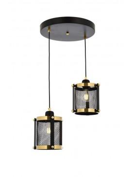 """Φωτιστικό οροφής """"BLACK"""" δίφωτο σε χρώμα χρυσό/μαύρο Φ40 100-01702"""