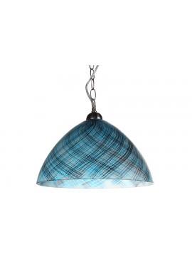 Φωτιστικό μονόφωτο από γυαλί σε χρώμα μπλε/μαύρο Φ35 Ε27 100-02207