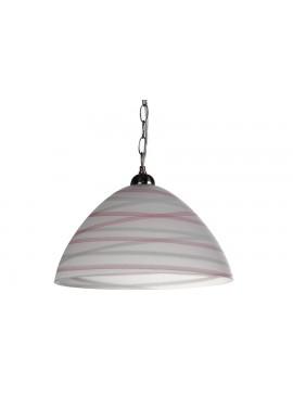 Φωτιστικό μονόφωτο από γυαλί σε χρώμα λευκό/ροζ Φ35 Ε27 100-02211