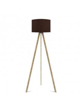 """Φωτιστικό δαπέδου """"CAPRICCIO"""" E27 από ξύλο-ύφασμα σε χρώμα σονόμα-καφέ Φ38x140 100-02294"""