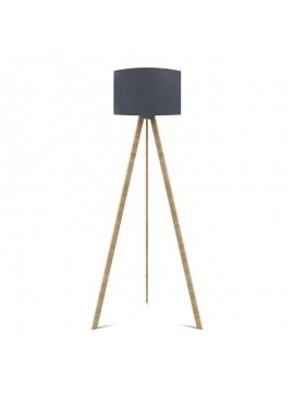 """Φωτιστικό δαπέδου """"CAPRICCIO"""" E27 από ξύλο/ύφασμα σε χρώμα σονόμα/ανθρακί Φ38x140 100-02295"""