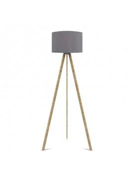 """Φωτιστικό δαπέδου """"CAPRICCIO"""" E27 από ξύλο/'υφασμα σε χρώμα σονόμα/γκρι Φ38x140 100-02296"""