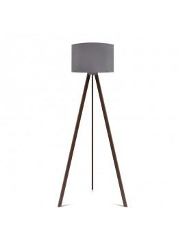 """Φωτιστικό δαπέδου """"CAPRICCIO"""" E27 από ξύλο/ύφασμα σε χρώμα σκούρο καρυδί/γκρι Φ38x140 100-02297"""