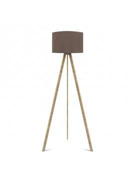 """Φωτιστικό δαπέδου """"CAPRICCIO"""" E27 από ξύλο/ύφασμα σε χρώμα σονόμα/μόκα Φ38x140 100-02298"""