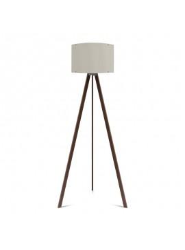 """Φωτιστικό δαπέδου """"CAPRICCIO"""" E27 από ξύλο/ύφασμα σε χρώμα σκούρο καρυδί/εκρού Φ38x140 100-02299"""