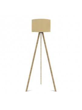 """Φωτιστικό δαπέδου """"CAPRICCIO"""" E27 από ξύλο/ύφασμα σε χρώμα σονόμα/κρεμ Φ38x140 100-02300"""