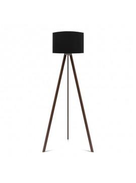 """Φωτιστικό δαπέδου """"CAPRICCIO"""" E27 από ξύλο/ύφασμα σε χρώμα σκούρο καρυδί/μαύρο Φ38x140 100-02301"""