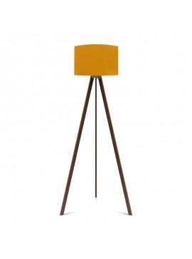 """Φωτιστικό δαπέδου """"CAPRICCIO"""" E27 από ξύλο/ύφασμα σε χρώμα σκούρο καρυδί/κίτρινο Φ38x140 100-02302"""