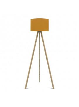 """Φωτιστικό δαπέδου """"CAPRICCIO"""" E27 από ξύλο/ύφασμα σε χρώμα σονόμα/κίτρινο Φ38x140 100-02303"""