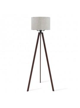 """Φωτιστικό δαπέδου """"CAPRICCIO"""" E27 ξύλο/ύφασμα σε χρώμα σκούρο καρυδί/εκρού με ανάγλυφα σχέδια 38x140 100-02304"""