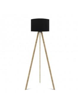 """Φωτιστικό δαπέδου """"CAPRICCIO"""" E27 από ξύλο/ύφασμα σε χρώμα σονόμα/μαύρο Φ38x140 100-02305"""