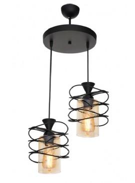 """Δίφωτο φωτιστικό """"FIBER"""" από μέταλλο σε μαύρο χρώμα Φ25x75 100-02431"""