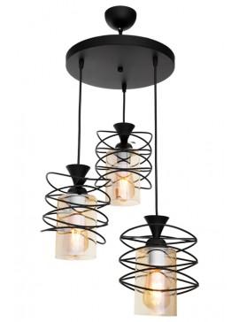 """Φωτιστικό οροφής τρίφωτο """" FIBER"""" μεταλλικό σε μαύρο χρώμα Ε27 Φ31Χ87 100-02432"""