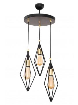 """Φωτιστικό οροφής τρίφωτο """" SIONA"""" μεταλλικό σε μαύρο χρώμα Ε27 Φ30Χ85 100-02434"""