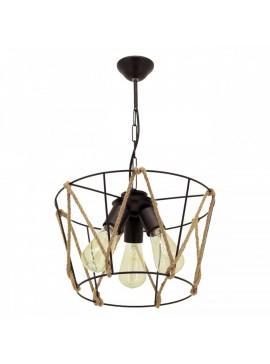 """Φωτιστικό τρίφωτο """"AYBEN"""" από μέταλλο/σχοινί σε χρώμα μαύρο Φ35x65 Ε27 100-02447"""