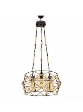 """Φωτιστικό """"MINA"""" οροφής 3φωτο μεταλλικό με σχοινί σε μαύρο χρώμα E27 Φ48x106 100-02451"""