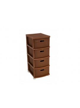 """Συρταριέρα αποθήκευσης """"RATTAN"""" σε χρώμα καφέ 38x47x92 100-02456"""