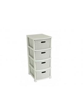 """Συρταριέρα αποθήκευσης """"RATTAN"""" σε χρώμα μπεζ 38x47x92 100-02457"""