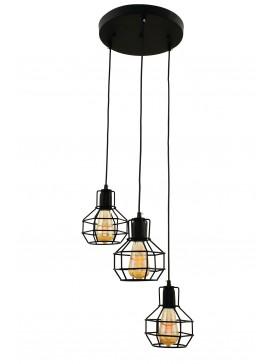 """Φωτιστικό τρίφωτο """"PERRO"""" από μέταλλο σε χρώμα μαύρο Ε27 Φ35Χ105-115 100-02492"""
