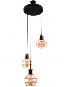 """Φωτιστικό τρίφωτο """"PERRO"""" από μέταλλο σε χρώμα μαύρο/χάλκινο Ε27 Φ35Χ105-115 100-02493"""
