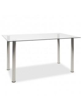 Τραπέζι Hazel pakoworld γυάλινο 8χιλ - πόδι inox 140x80x75εκ 101-000014