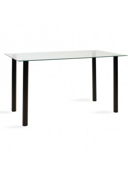 Τραπέζι Hazel pakoworld γυάλινο 8χιλ - πόδι μαύρο 140x80x75εκ 101-000015
