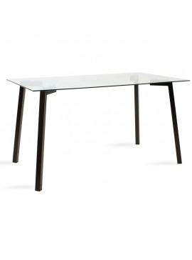 Τραπέζι Tomi pakoworld γυάλινο 8χιλ - πόδι μαύρο 140x80x75εκ 101-000016