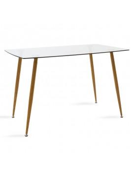 Τραπέζι Chloe pakoworld γυάλινο 8χιλ - πόδι φυσικό 120x70x75εκ 101-000017