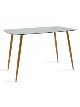 Τραπέζι Chloe pakoworld γυάλινο 8χιλ ανθρακί - πόδι φυσικό 120x70x75εκ 101-000018