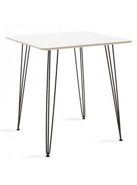 Τραπέζι Jade pakoworld MDF λευκό ματ-πόδι μεταλλικό μαύρο 70x70x75εκ 101-000022