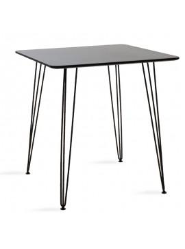 Τραπέζι Jade pakoworld MDF μαύρο ματ-πόδι μεταλλικό μαύρο 70x70x75εκ 101-000023