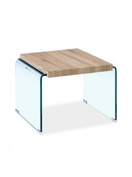 Βοηθητικό τραπέζι σαλονιού Brooklyn pakoworld γυαλί 12mm - MDF sonoma 55x55x40εκ 107-000003