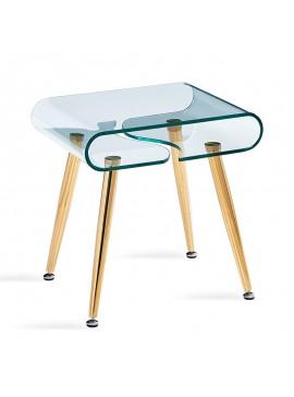 Βοηθητικό τραπέζι σαλονιού Gusto pakoworld γυαλί 10mm - πόδια χρυσό 50x40x50εκ 107-000008