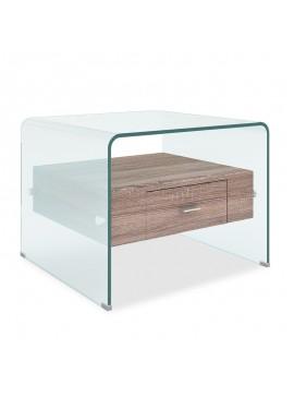 Βοηθητικό τραπέζι σαλονιού Misa pakoworld γυαλί 12mm - MDF oak 55x50x42εκ 107-000009