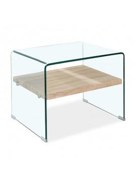 Βοηθητικό τραπέζι σαλονιού Compton pakoworld γυαλί 12mm - MDF sonoma 63x50x48εκ 107-000013