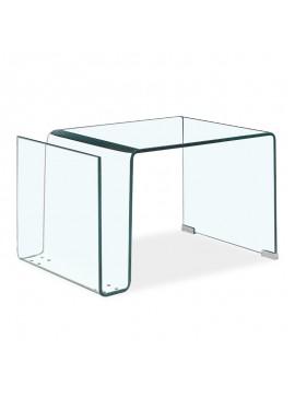 Βοηθητικό τραπέζι σαλονιού Dario pakoworld γυαλί 10mm 61x42x37εκ 107-000018