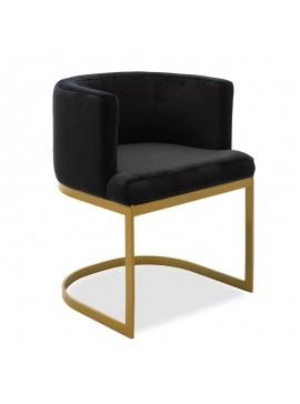 Πολυθρόνα Viv pakoworld βελούδο μαύρο-χρυσό 53x51x71εκ 110-000023
